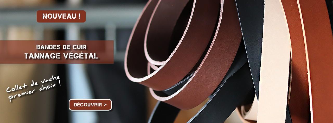 Bandes de cuir collet tannage végétal qualité supérieure Cuir en Stock