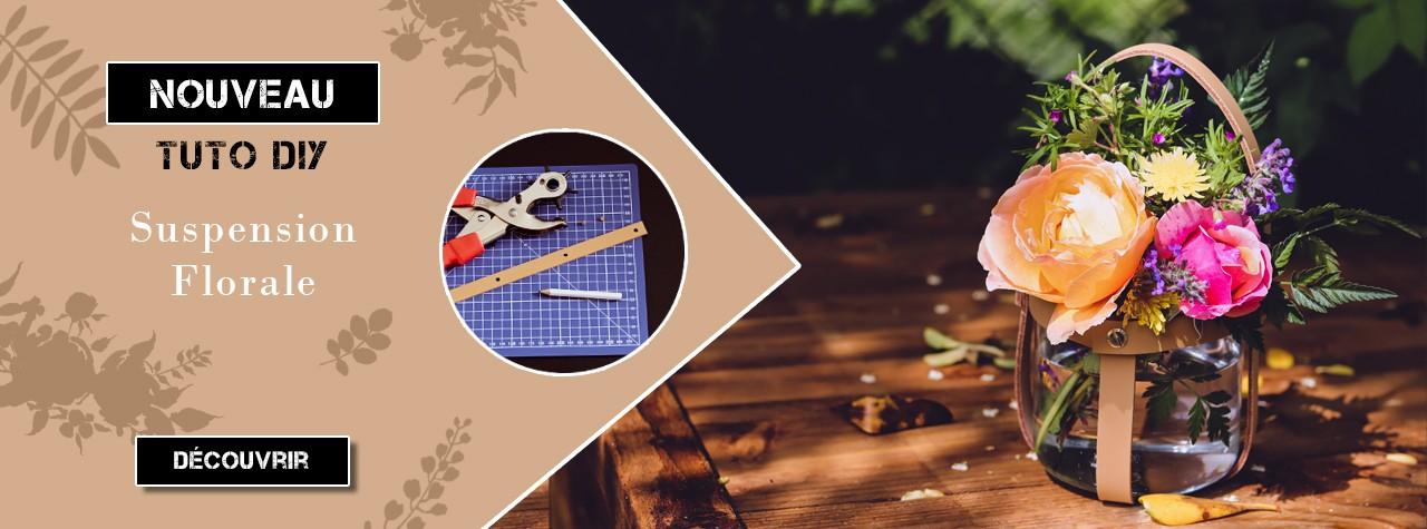 Tuto DIY gratuit Déco en Cuir - Réaliser une suspension florale - Cuir en Stock