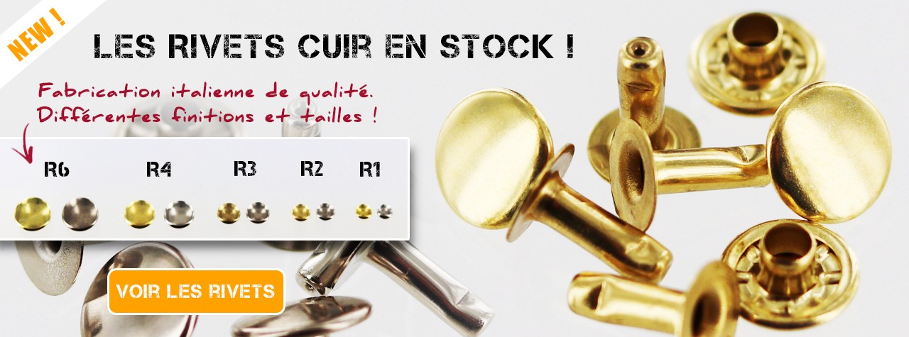 rivets cuir simple calotte Cuir en Stock accessoires maroquinerie