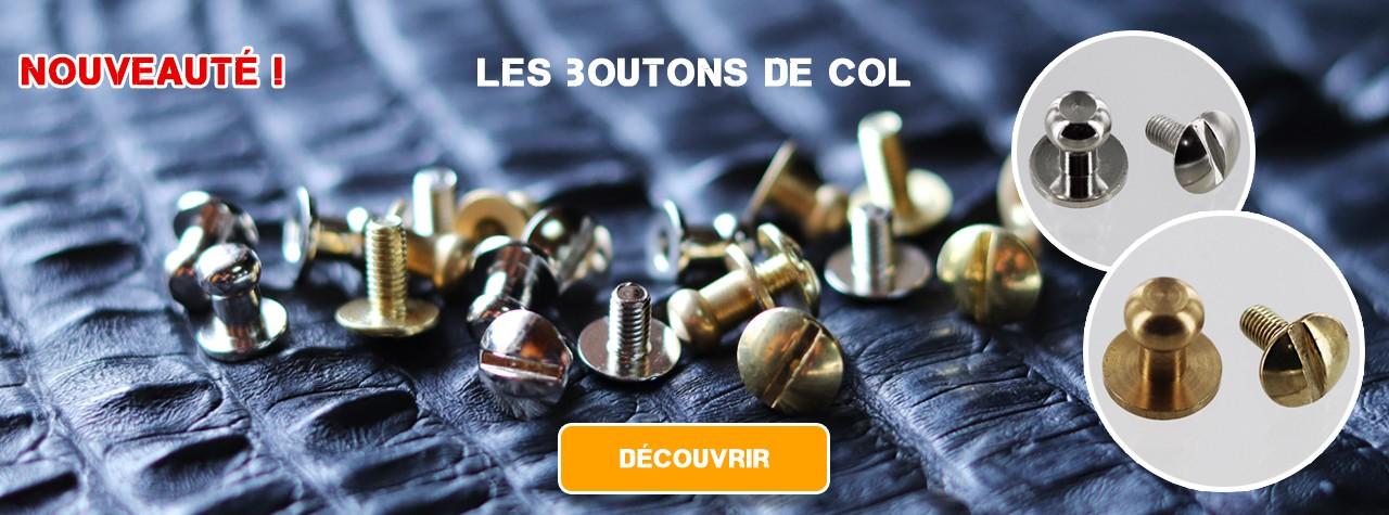 boutons de col à vis travail du cuir qualité pro Italie cuirenstock