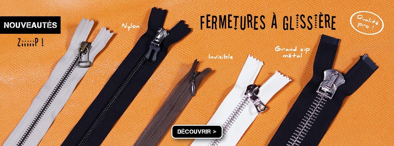 Fermetures à glissière couture cuir maroquinerie chez Cuir en Stock